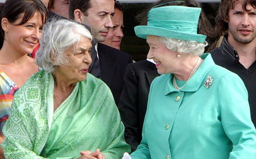 Gayatri Devi joins the Queen at the Guards Polo Club in Windsor, 2005 Photo: Matrix