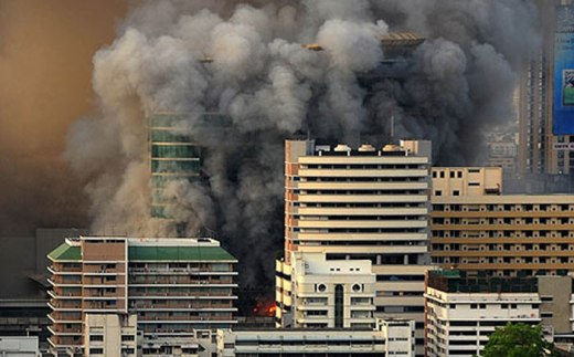 Central World and vicinity in Bangkok burns after redshirts set fire to many building showing their anger against the government May 19, 2010 in Bangkok.